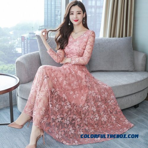 Autumn Fashion Romantic Lace Pink Female Dress The 2018 New Style V-neck Designs Elegant Temperament Black Office Lady Dresses