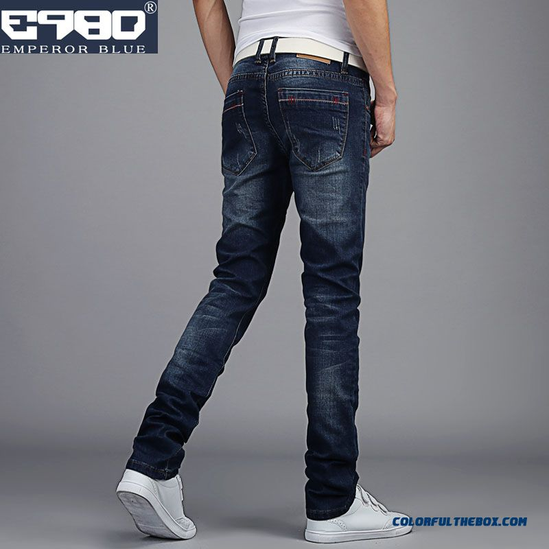 Autumn High Elastic Jeans Casual Slim Straight Men's Clothing Chic