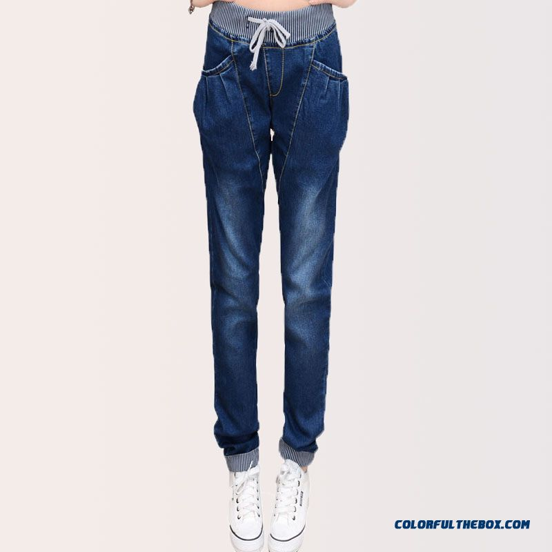 Autumn Jeans Elastic Thin Pencil Pants Harem Pants Large Size Women Pants