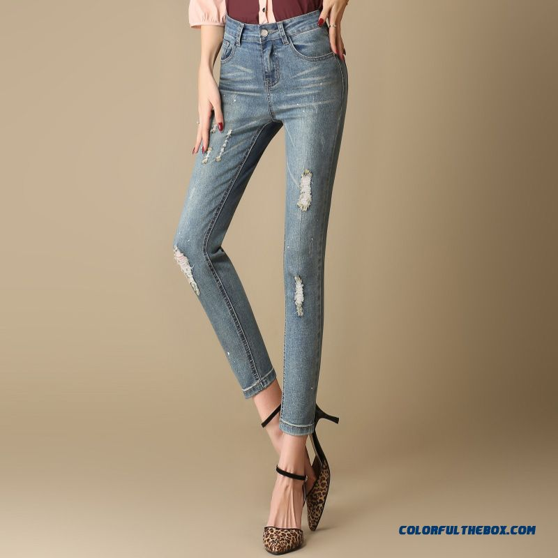 Autumn Large Size High Elastic With Hole Jeans Female European Style Ankle-length Pants