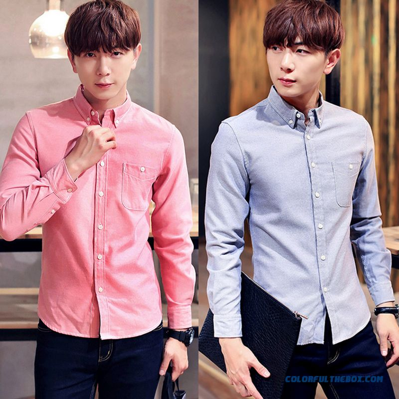 Autumn Men Slim Casual Long-sleeved Business Shirt Solid Color Large Size