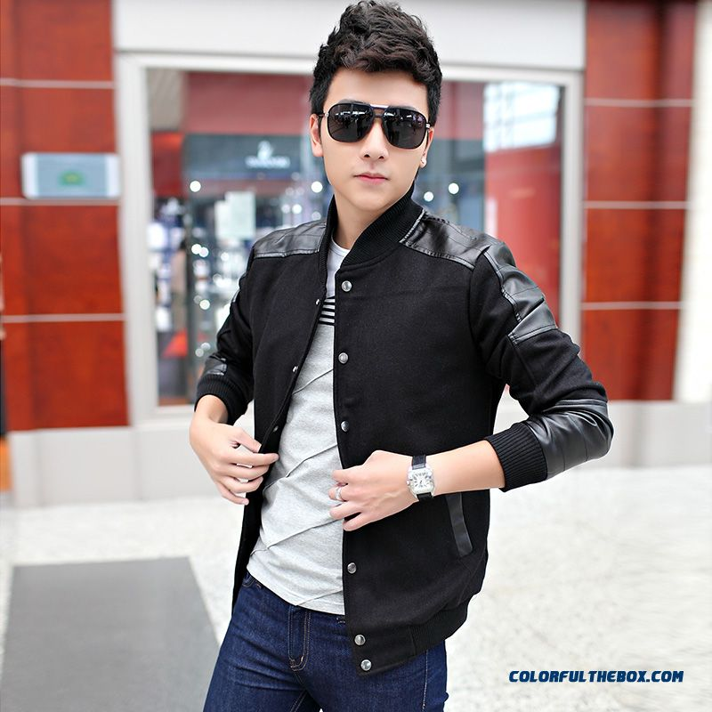 Autumn Men Woolen Jacket Stand Collar Thickening Pu Leather Casual Young