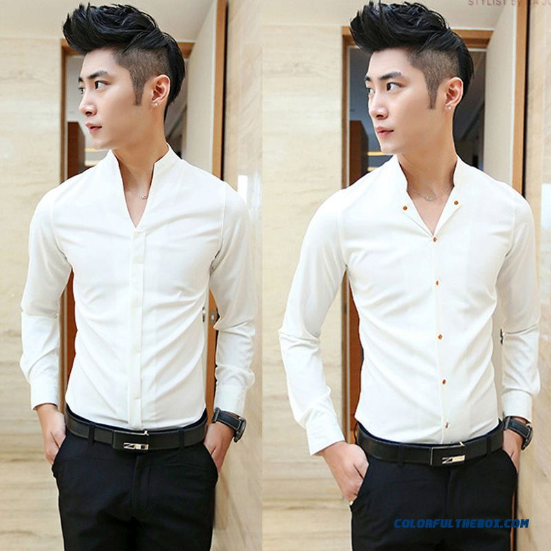 Autumn Men's Casual Long-sleeved Shirt Standing Collar Slim Tide England Style Youth