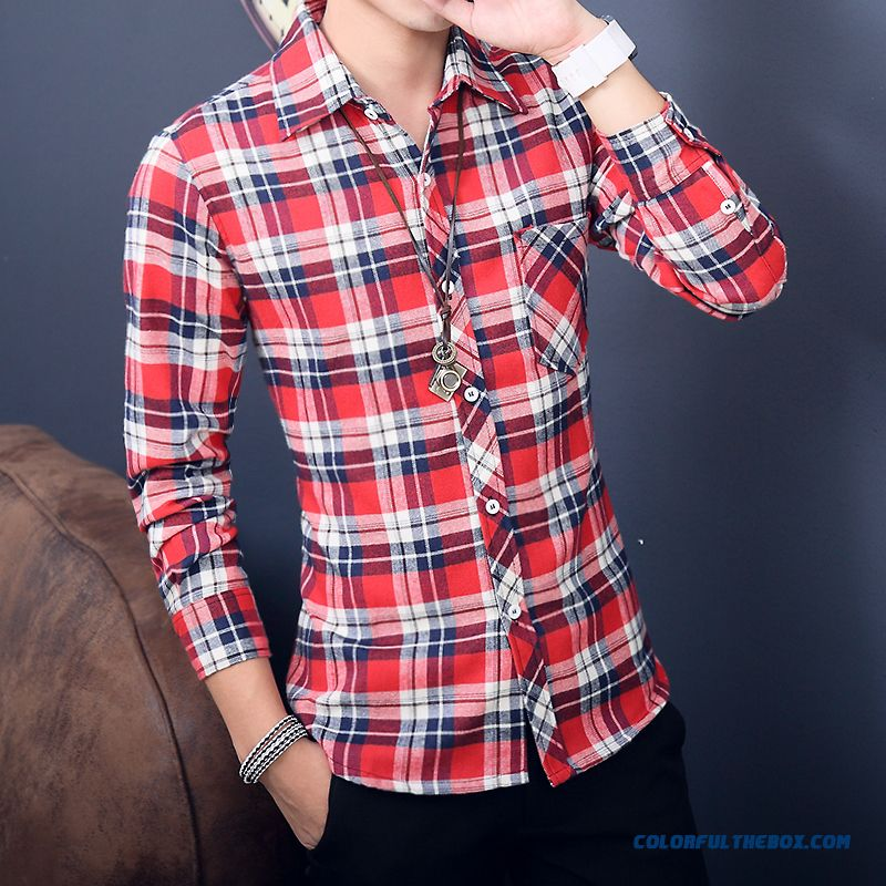 Autumn Men's Plaid Long-sleeved Tees Slim Brushed Casual Hot Selling