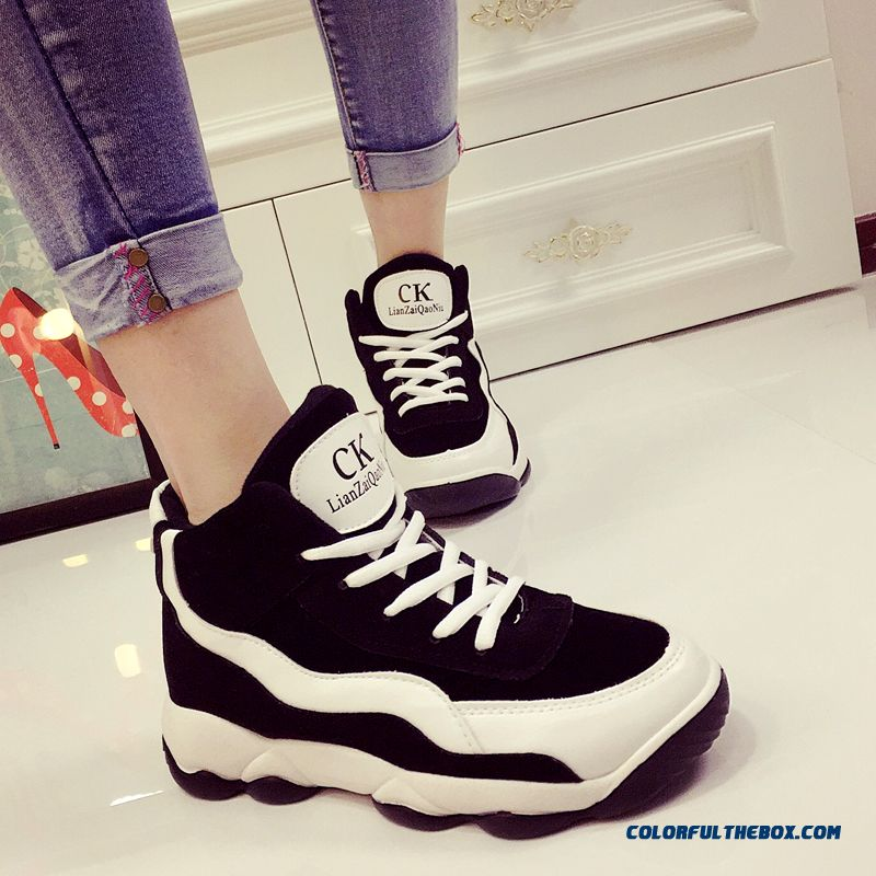 Autumn New Casual Shoes Spell Color Thick Bottom Large Size Running For Women - more images 1
