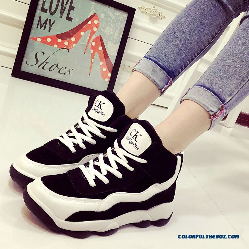 Autumn New Casual Shoes Spell Color Thick Bottom Large Size Running For Women - more images 4