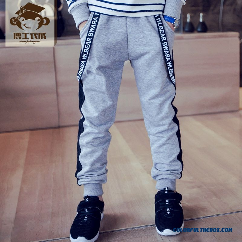 Autumn New Children's Kids Sports Pants Light Grey Black Boys Pantants