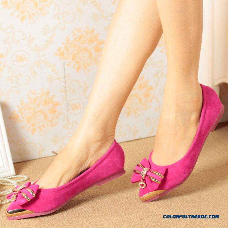 Autumn New Flats Shallow Mouth Sweet Bow-tie Leather Women Shoes