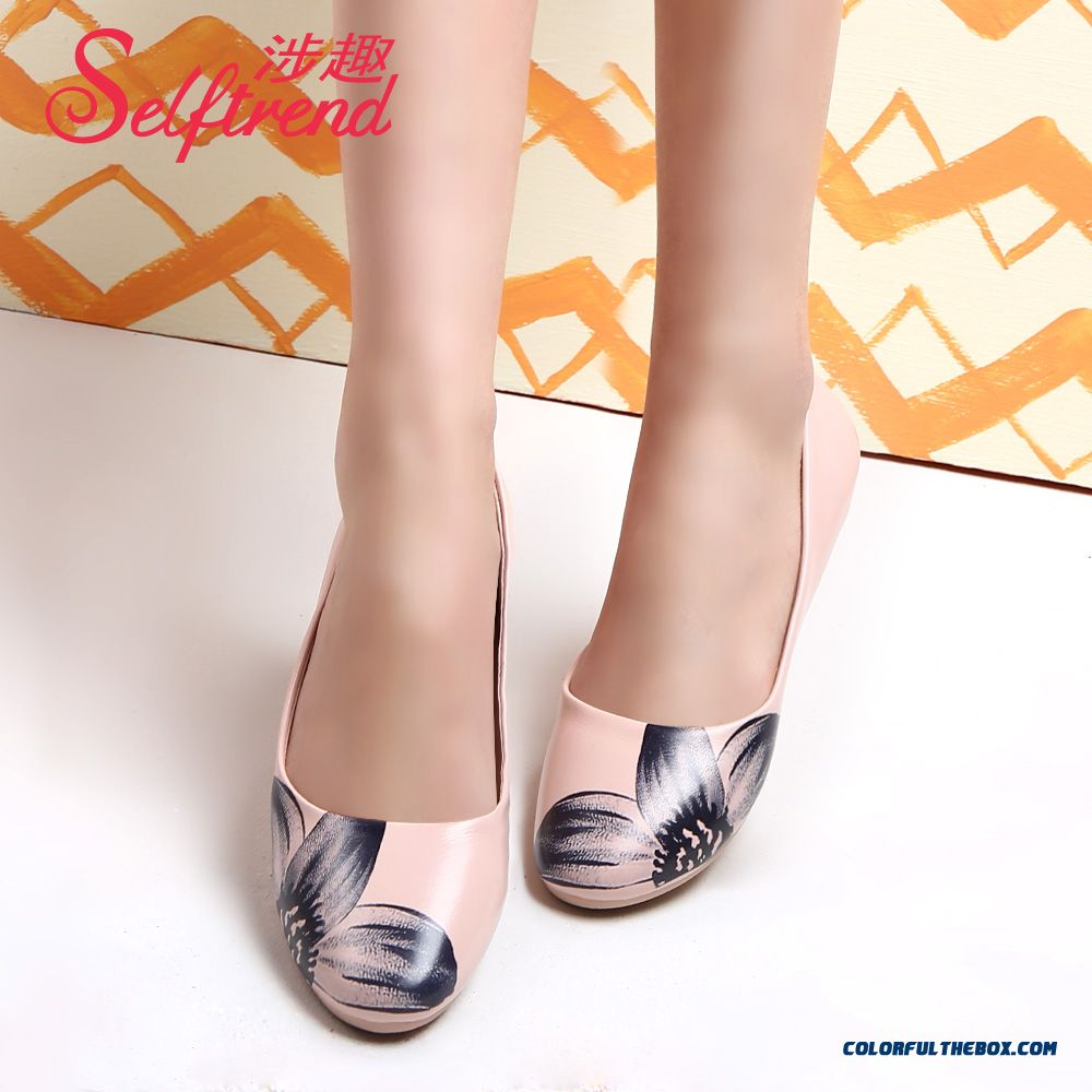 Autumn New Ink Printing Shallow Mouth Round-toe Flats Flat Bottom Soft Bottom Foe Women