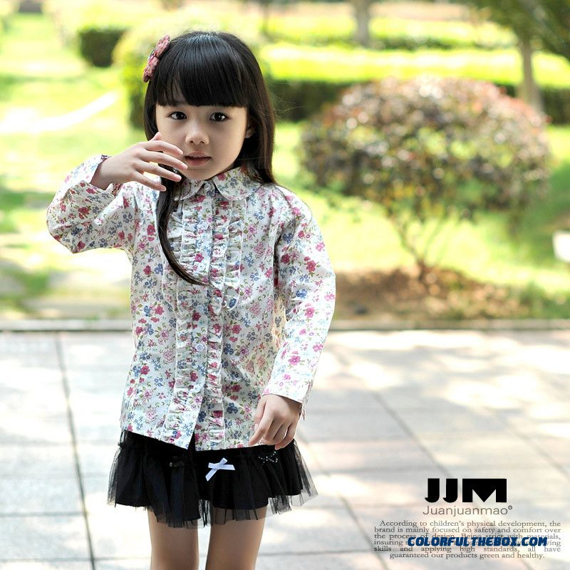 Autumn New Kids Long-sleeve Shirt Printed Cotton Cardigan Girls Floral Shirt