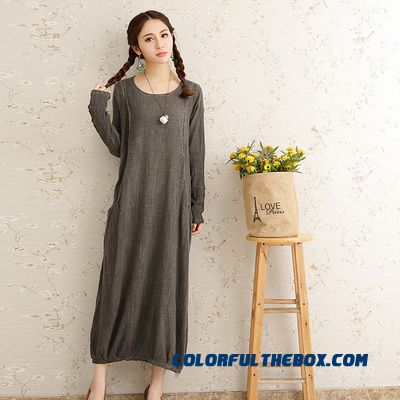 Autumn New Large Size Women Dress Loose Cotton Long-sleeved Thin Solid Color