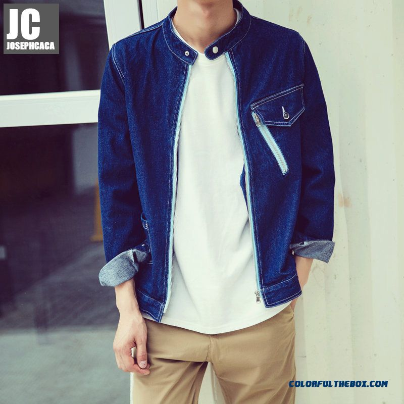 Autumn New Long-sleeved Denim Men Coats Slim Young Simple Individuality Jacket Tide