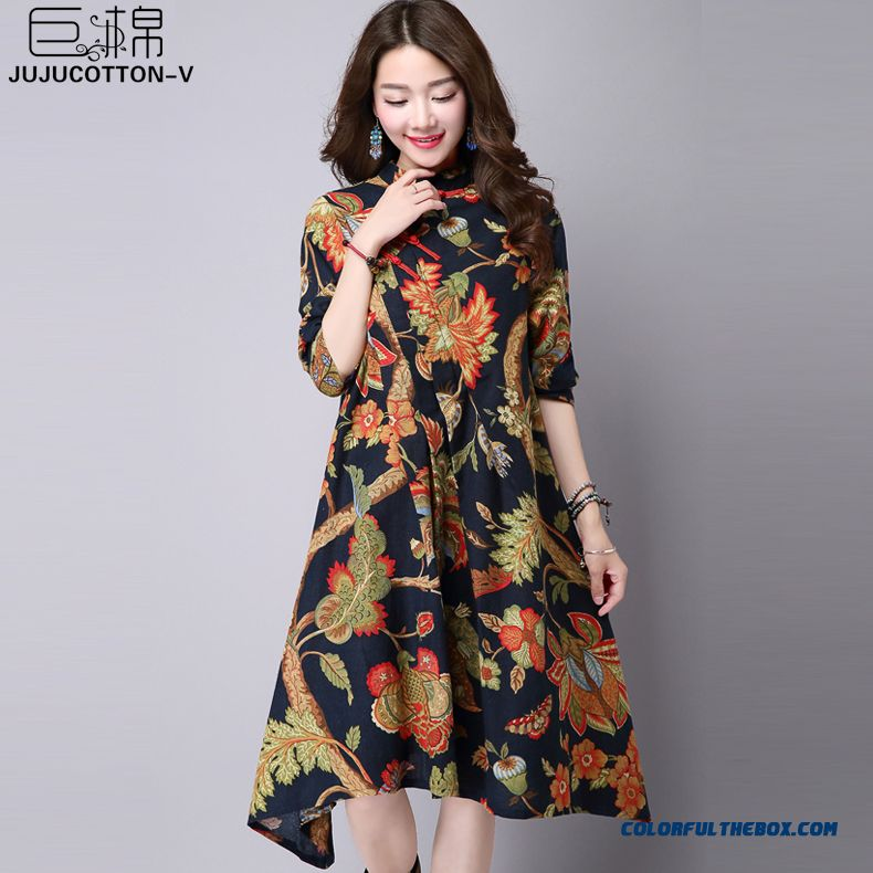 Autumn New Retro Loose Long-sleeved Cotton Women Dress Cheongsam Collar