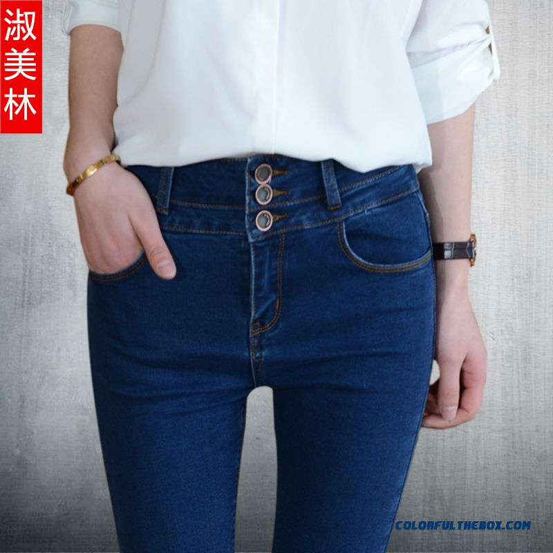 Autumn New Single-breasted Women Pants High Waist Jeans Slim Stretch And Thin