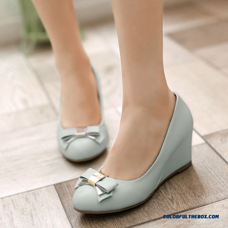 Autumn New Sweet Bow-tie Decorative Wedge Heel Shallow Mouth Women Genuine Leathe Pumps
