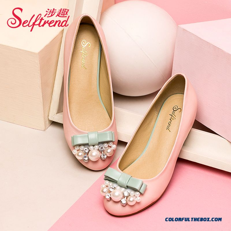 Autumn Pearl Decoration Rhinestones Bow-tie Decorative Round-toe Shallow Mouth Women Flat Shoes