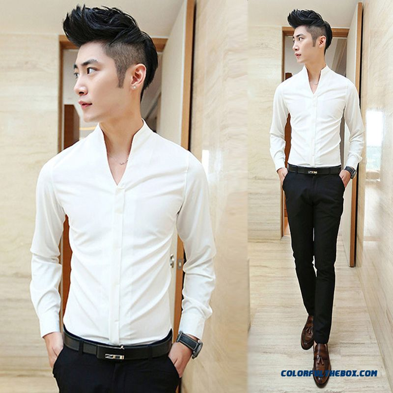 Autumn Slim Solid Color Men's Long-sleeved Shirt Standing Collar Casual Breathable Casual