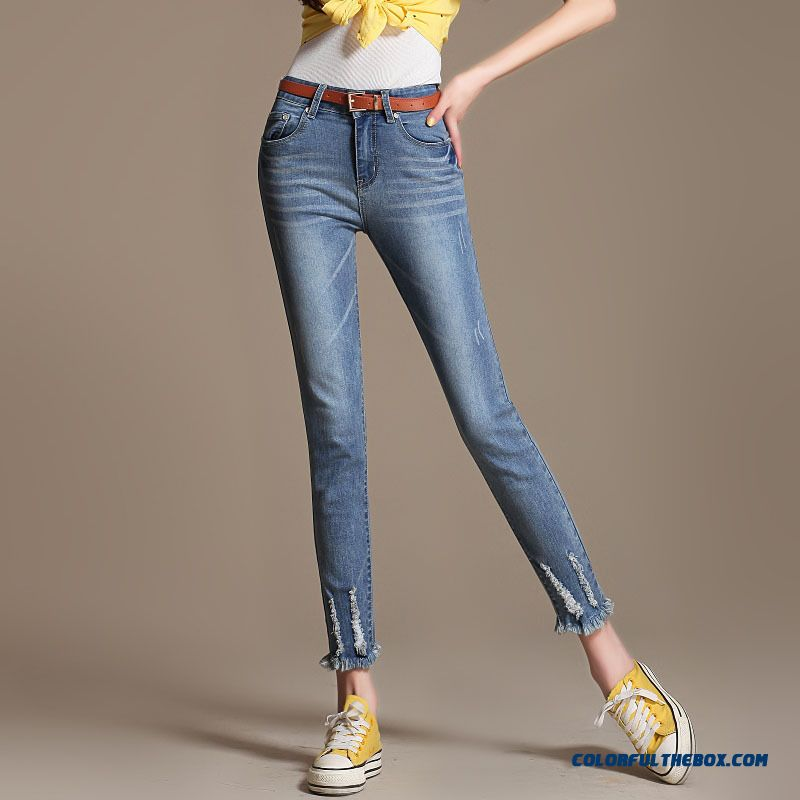 Autumn Slim Thin Europe And America Style Of Women Crop Jeans Elastic Pants Large Size Pants
