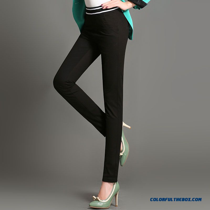 Autumn Stretch Cotton Large Size Thin Slim Pencil Women Elastic Waist Pants