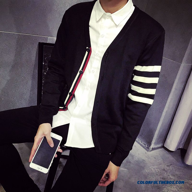 Autumn Striped Sweater Coat Men Thin Cardigan Vogue Luxury Free Shipping