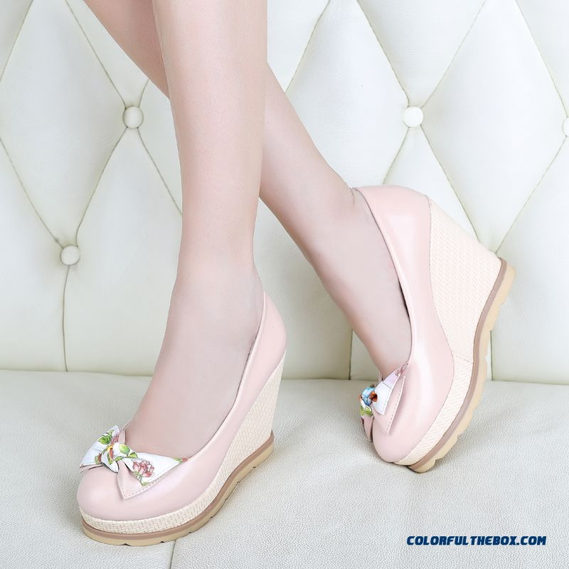 Autumn Sweet Bow-tie Round-toe Wedge Heel Shallow Mouth High-heeled Pumps Women Shoes - more images 1