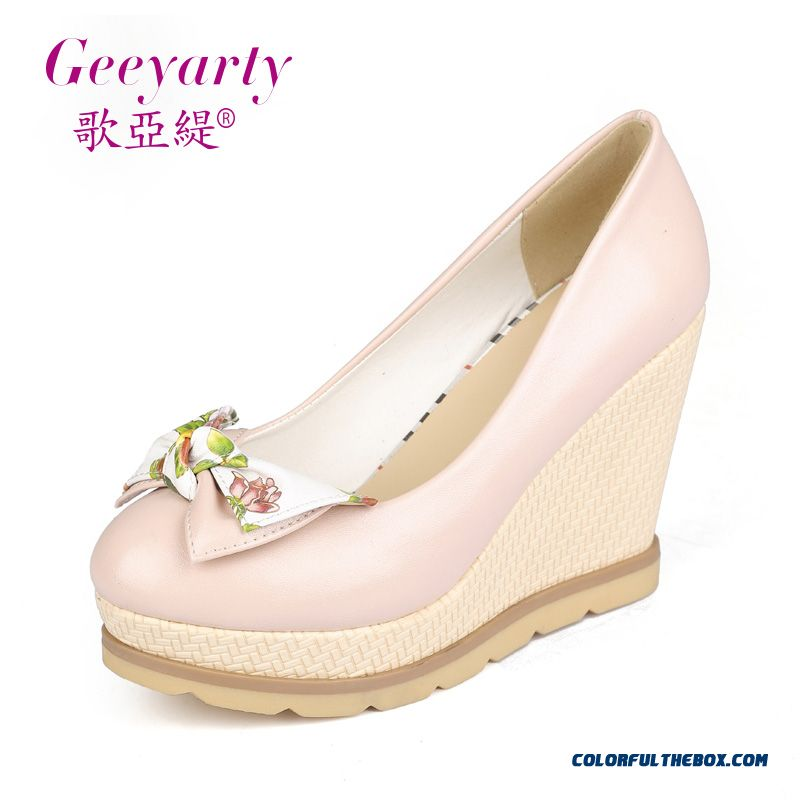 Autumn Sweet Bow-tie Round-toe Wedge Heel Shallow Mouth High-heeled Pumps Women Shoes - more images 2