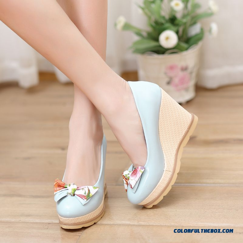 Autumn Sweet Bow-tie Round-toe Wedge Heel Shallow Mouth High-heeled Pumps Women Shoes - more images 3
