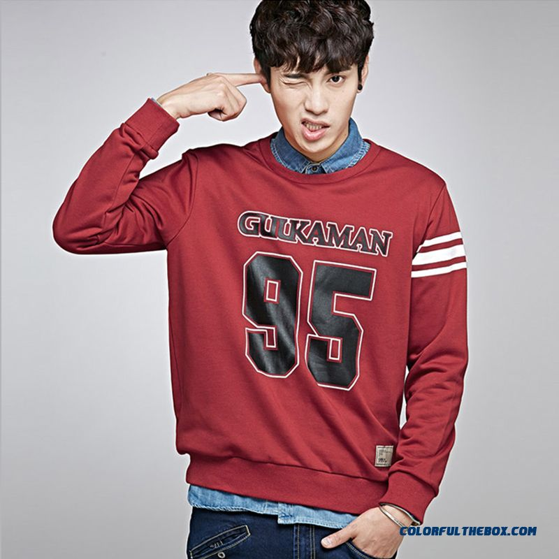 Autumn Tide Men Round Neck Sweatshirts Pullover Alphanumeric Printing Loose Clothing