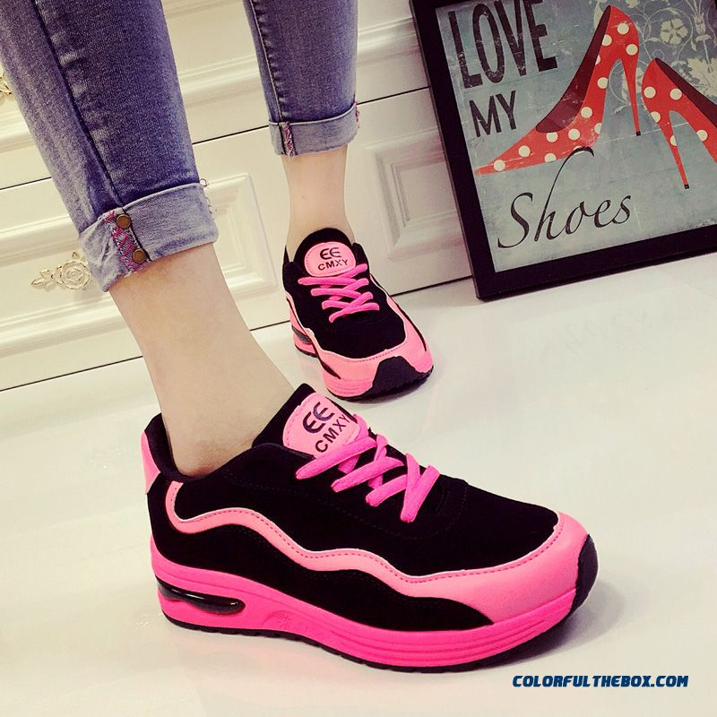 Autumn Vogue Thick Bottom Casual Shoes Pink And Black For Women