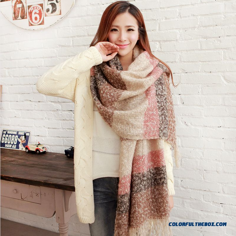 Autumn & Winter Women Shawl Large Specifications Lattice Mixed Colors Wool Scarves