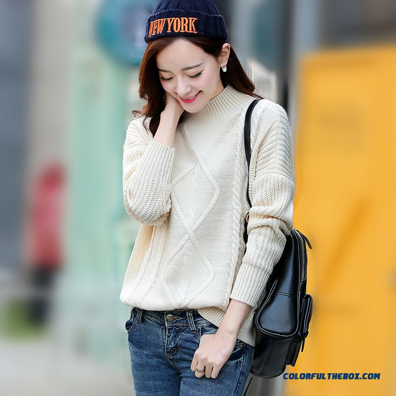 Autumn Winter Women Sweater High Neck Pull Blouson Solid Thick Coats