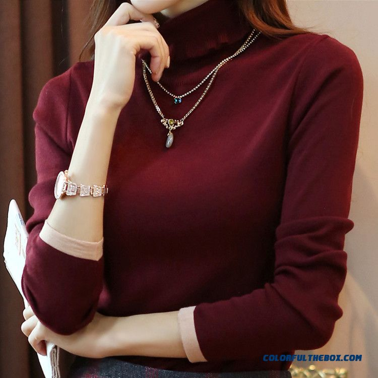 Autumn Winter Women Sweater Slim Bottoming Shirt Warm High Neck Solid