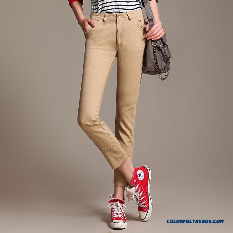 Autumn Women Large Size Slim Thin High Waist Long Ankle-length Pants Stretch Cotton Slim