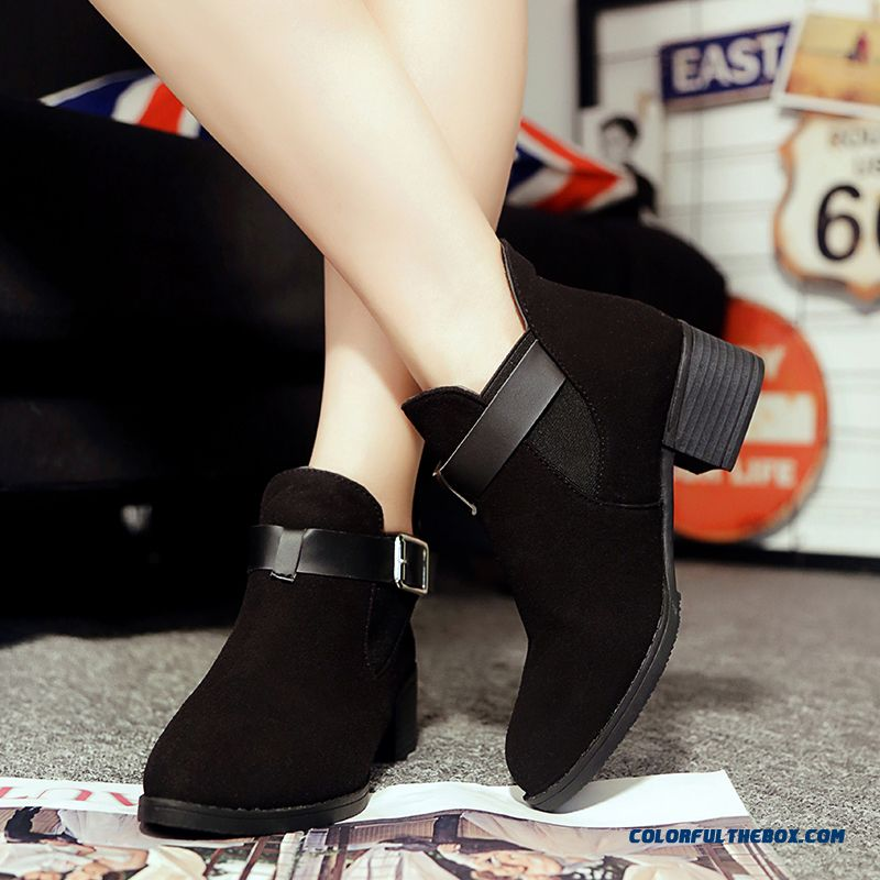 Autumn Women's Pointed Shoes Nubuck Belt Buckle Thick Heel Ankle Boots