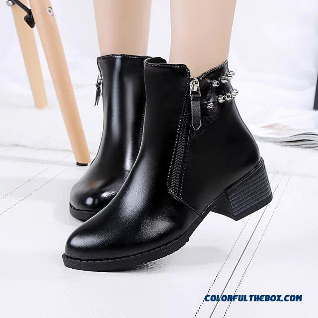 Autumn Women's Shoes Round-toe Side Zipper Thick Heels Rivets Ankle Boots