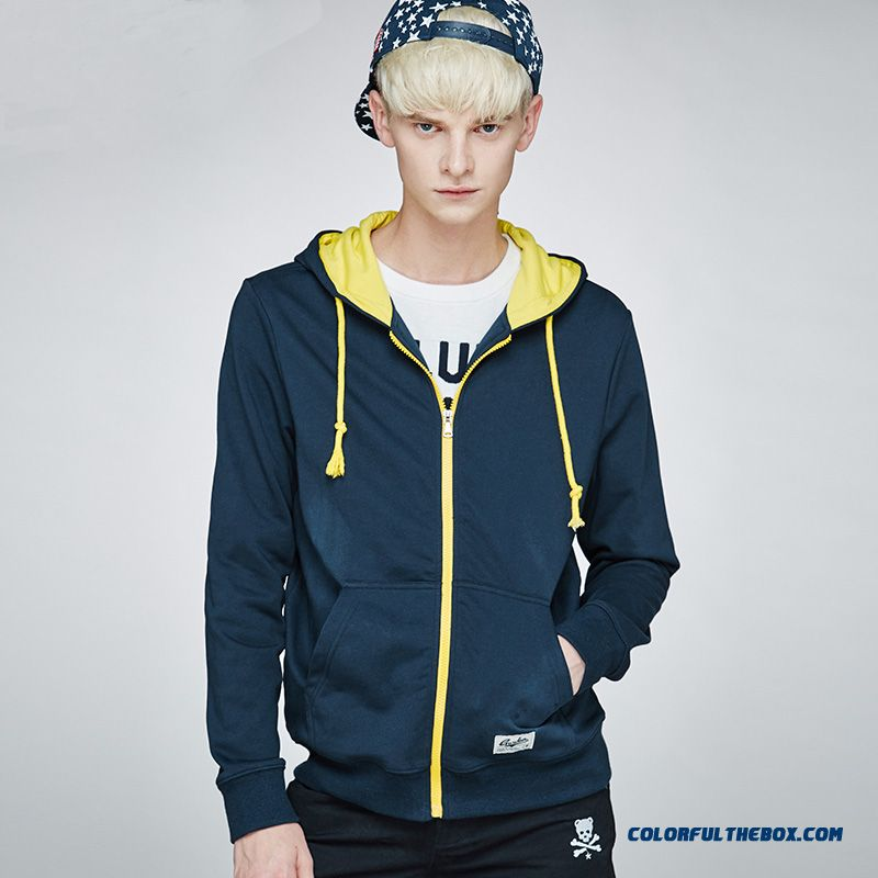 Autumn Youth Sports Hoodies Thin Outerwear Simplicity Solid Color Blue Coat Tide