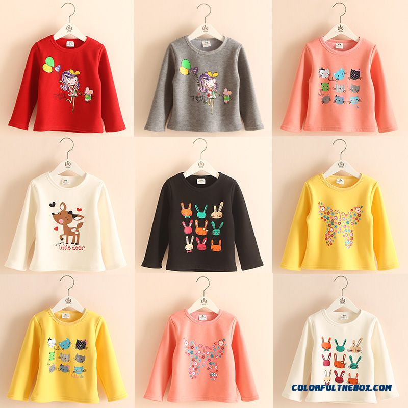 Baby Cartoon Bottoming Shirt Girls Kids Plus Thick Velvet T-shirt More Style Selector