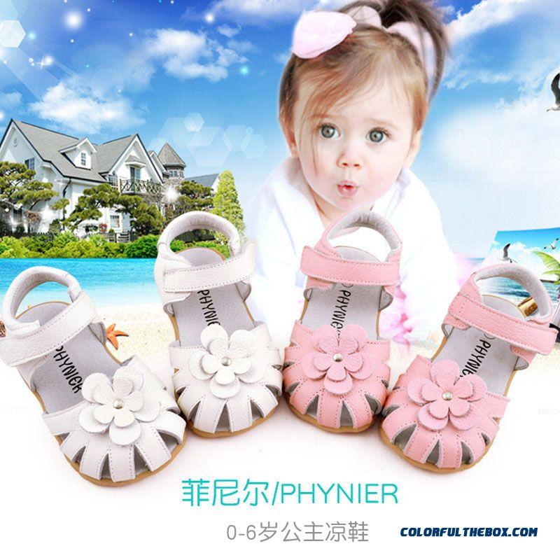 Baby Girls Sandals Leather Flowers Sandals 1-5 Years Old Kids Summer Shoes Free Shipping White Pink