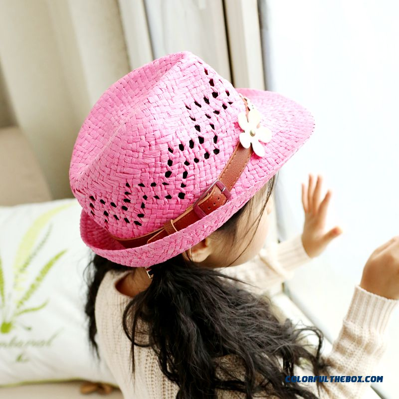 Baby Top Hat Sunscreen Hat Jazz Hat Girls Kids Accessories Straw Hollow Hat With Protect Ear Function