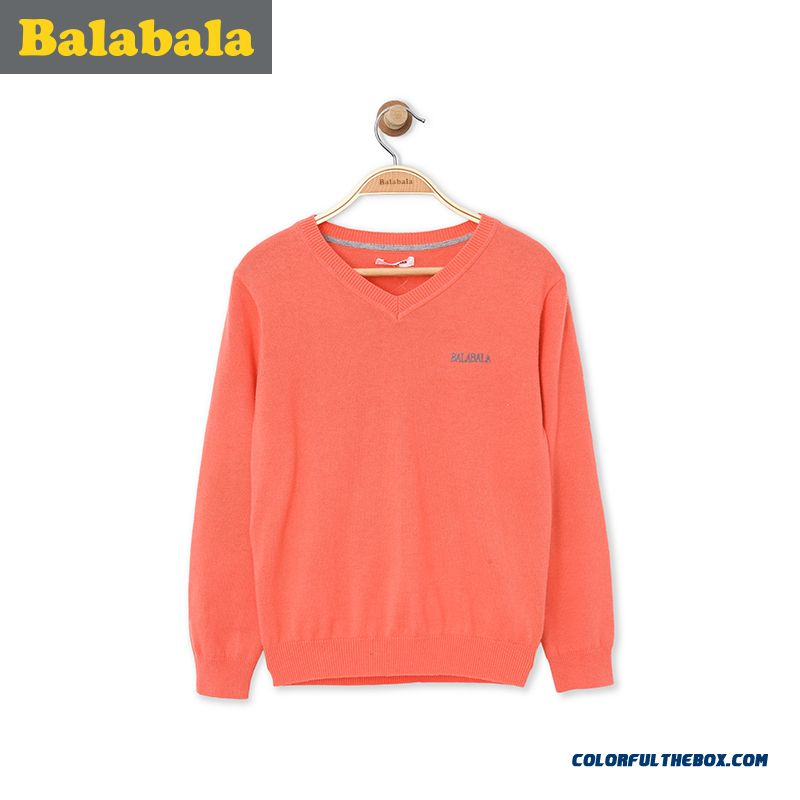 Balabala Kids Clothing Big Kids Boy 2016 Spring New V-neck Sweater Grey Orange