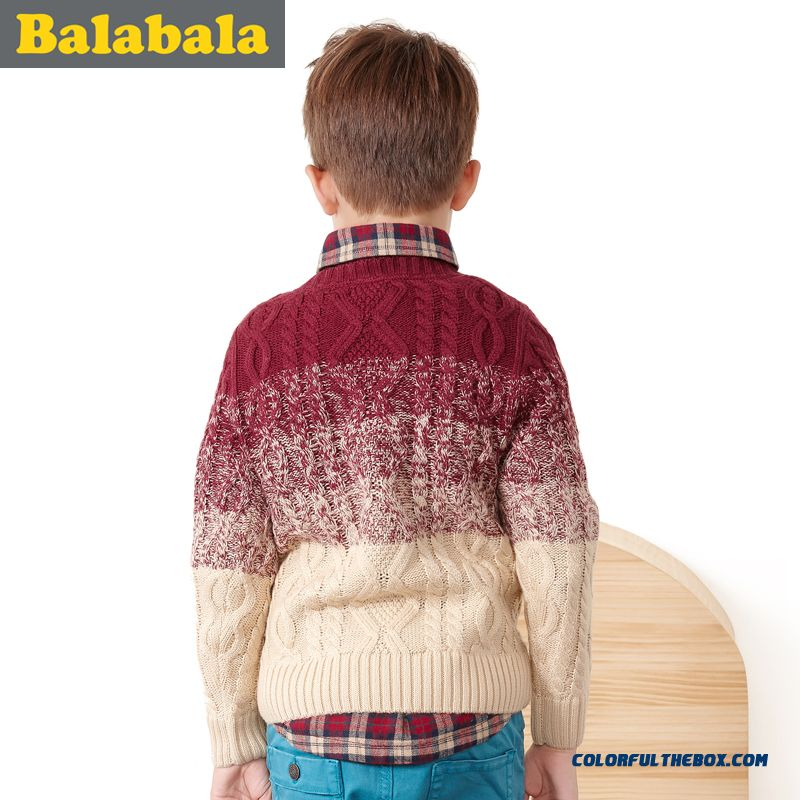 Balabala Kids Clothing Boy Sweater 2016 New Pullover Round Neck Sweater Coat Thicker Kids' Clothing - more images 2