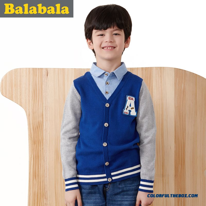 Balabala Kids Clothing Boy Sweater Kids' Cotton Fake Two-piece Pullover Sweater