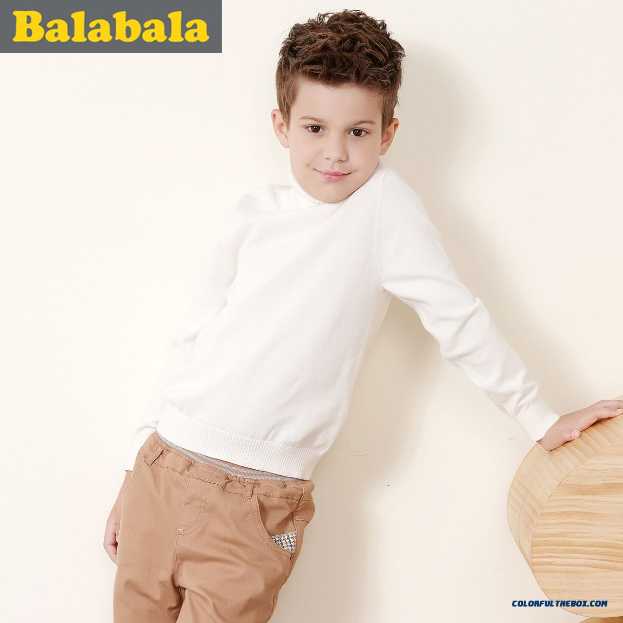 Balabala Kids Clothing Boy Sweater Pullover Sweater With High Collar Sweater Fall And Winter Kids' Bottoming Shirt