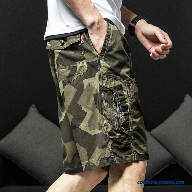 Beach Men's Tooling Pure Sport Loose Shorts Leisure Summer Khaki Cotton Trend Short Pants Camouflage