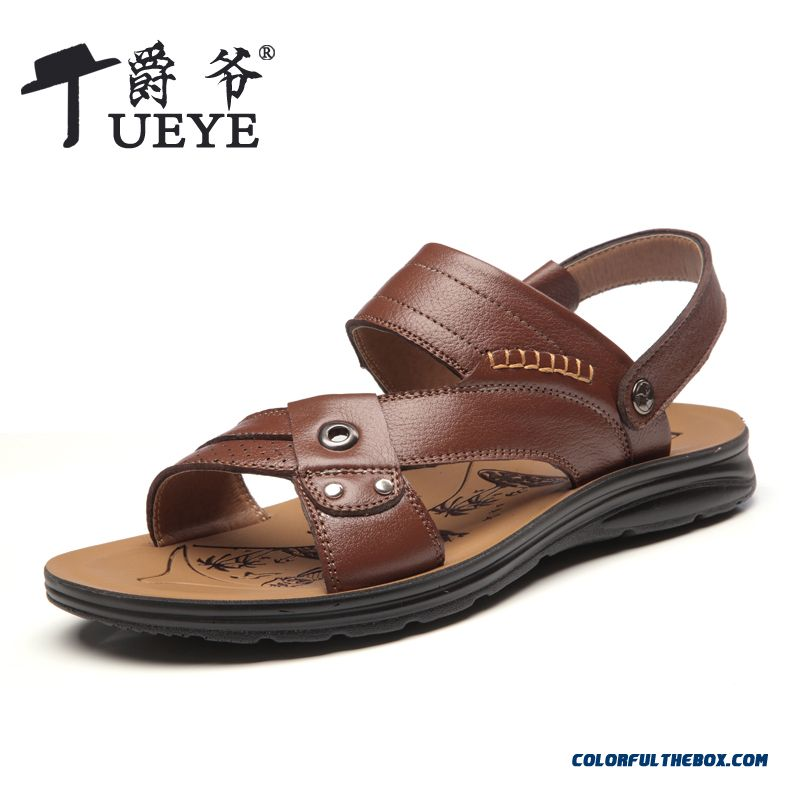 Beach Shoes Men Sandals Breathable Leather Casual Summer
