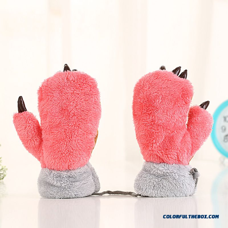 Bear Claw Full Finger Mittens Cute Boys And Girls Plus Velvet Warm Outdoor Gloves Kids Accesories