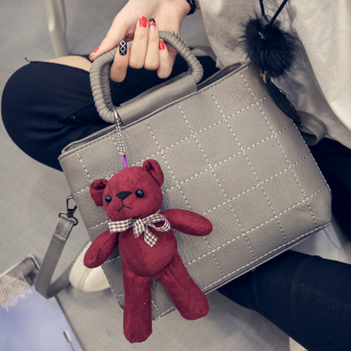 Bear Pendant Double Handbag Shoulder Bags Stylish Small Square Bags For Women