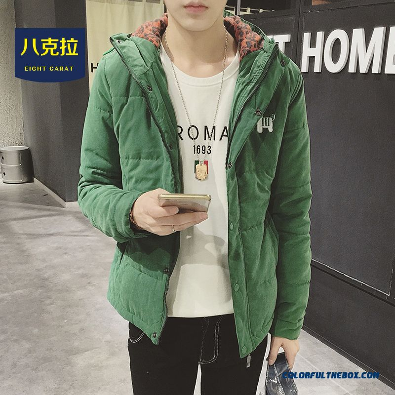 Best Selling New Men Green Hooded Coats Winter Cotton Jacket