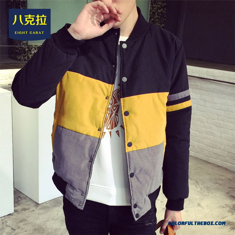 Best Selling New Men Hit Color Stitching Stripe Stand Collar Baseball Coats