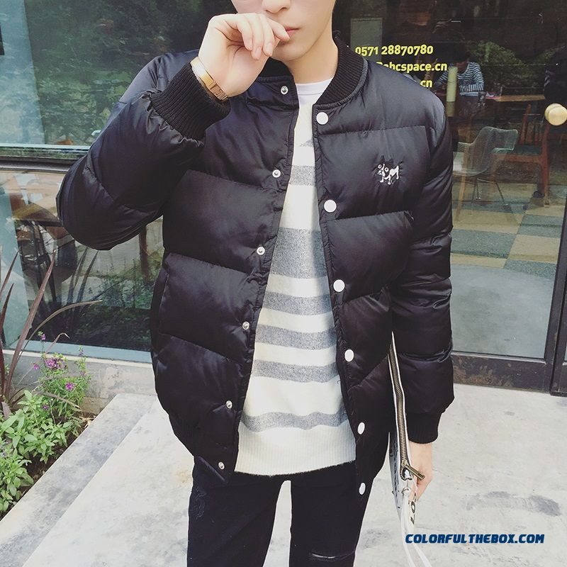 Best Selling New Winter Men Coats Solid Color Black Baseball Collar